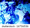digital world with beautiful blue fibre optics - stock photo