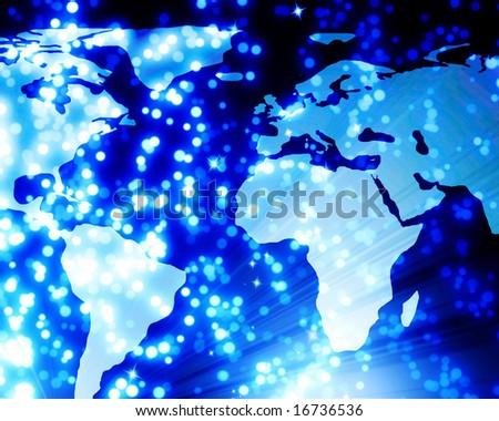 digital world with beautiful blue fibre optics - stock photo