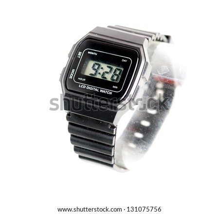 Digital wristwatch on a white background - stock photo