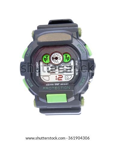 Digital wristwatch on a white background - stock photo