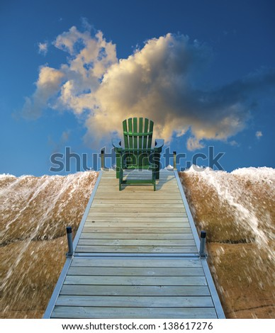 Digitall manipulated image of an adirondack chair sitting on a dock and a waterfall. - stock photo