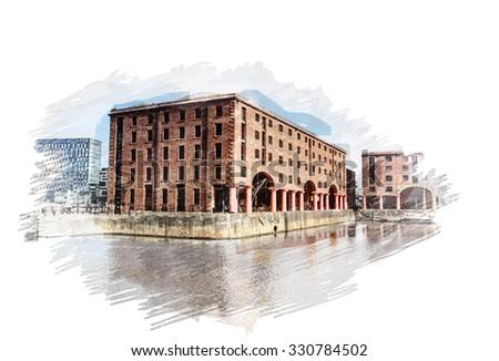 Digitally constructed watercolour illustration of Albert Docks, Liverpool, UK - stock photo