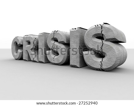 Digitally created and partially destroyed word crisis with concrete texture as a result of the financial crisis. - stock photo