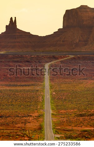 Digitally created image of a roadway leading to Monument Valley, Arizona, USA. - stock photo