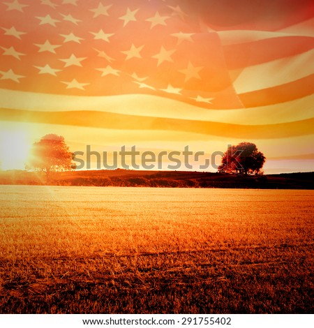 Digitally generated american flag rippling against countryside scene - stock photo