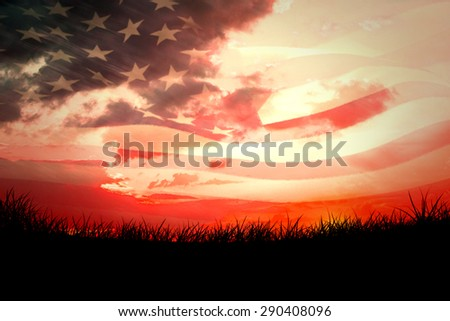 Digitally generated american flag rippling against red sky over grass - stock photo