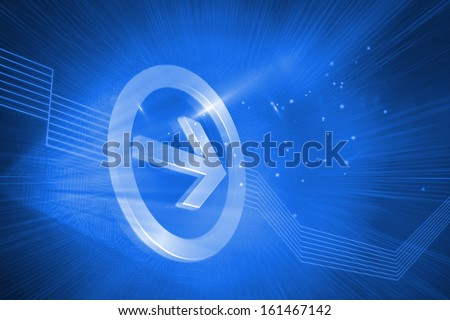 Digitally generated arrow pointing to the right on blue background