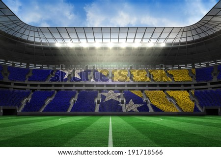 Digitally generated bosnian flag in large football stadium with white fans - stock photo