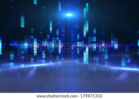 Digitally generated disco background in blue