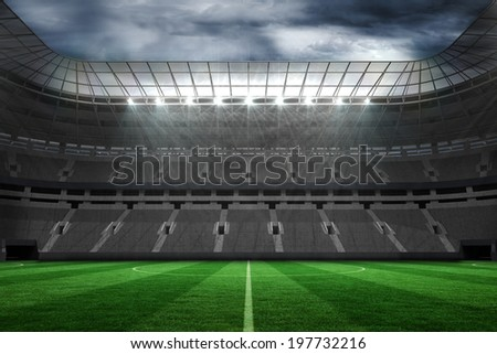 Digitally generated large empty football stadium with lights