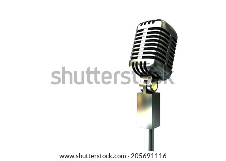 Digitally generated retro chrome microphone on white background