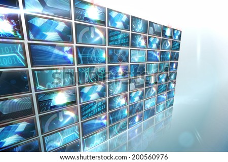 Digitally generated screen collage showing computing images - stock photo