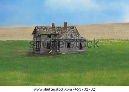 Digitally hand painted art of an old abandoned ranch house. - stock photo