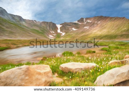 Digitally hand painted photo of a mountain lake in Colorado. - stock photo