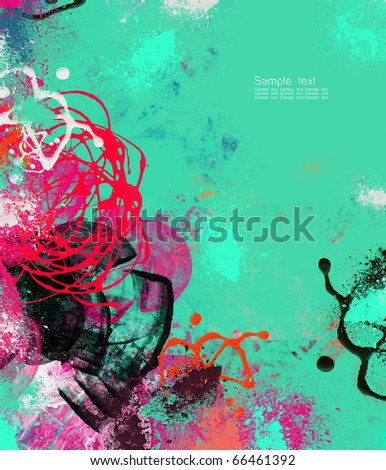 Digitally handpainted  abstract textured background with space for your text - stock photo