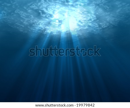 Digitally made underwater scene - stock photo