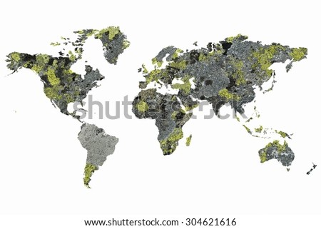 digitally modified excerpt of the stones in the shape of continents - stock photo
