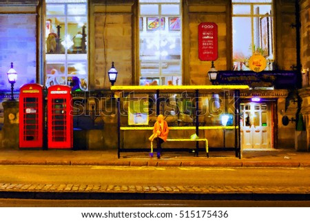 Digitally painted illustration of a girl waiting for a bus with an oil on canvas texture
