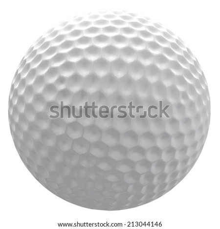 Digitally rendered illustration of a golf ball on white background. - stock photo
