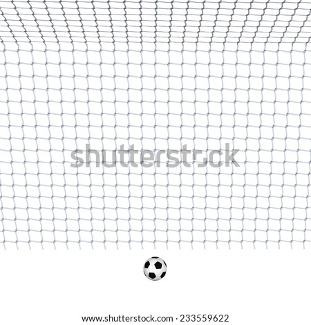 Digitally rendered illustration of a soccer goal and ball white background.