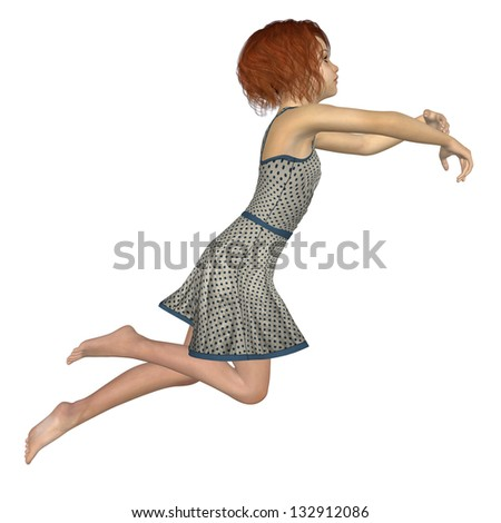 Digitally rendered image of a beautiful teen girl jumping on white background. - stock photo
