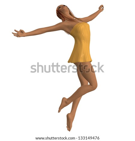 Digitally rendered image of a blond girl in yellow dress on white background.