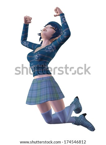 Digitally rendered image of a cartoon girl in hot winter clothes of blue color. - stock photo
