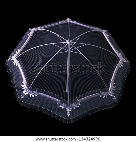 Digitally rendered image of a pink umbrella, parasol on black background. - stock photo