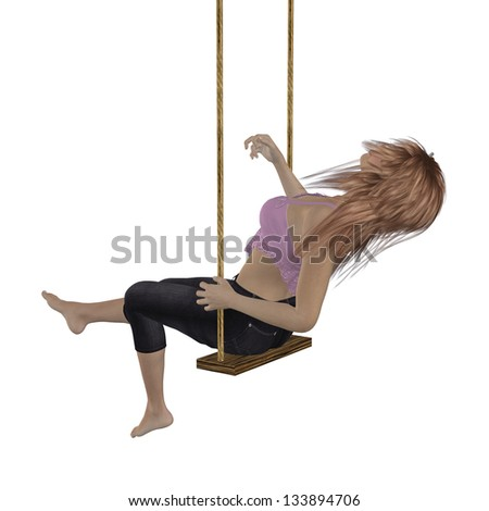 Digitally rendered image of a woman in pink top on swing over white background.