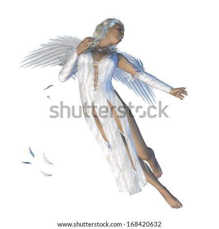 Digitally rendered image of an angel woman on white background.