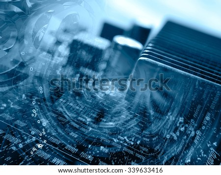 Digits and device - abstract computer background in blues. - stock photo
