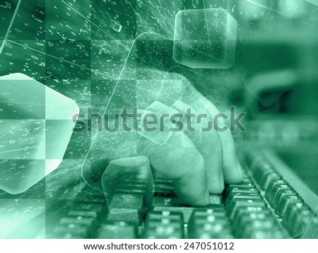 Digits and keyboard - abstract computer background in greens. - stock photo