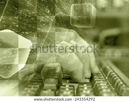 Digits and keyboard - abstract computer background in sepia. - stock photo