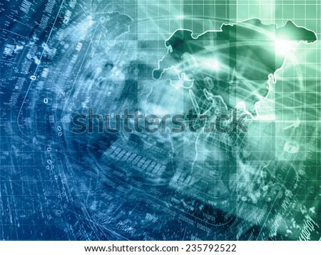 Digits and map - abstract computer background, in greens and blues. - stock photo