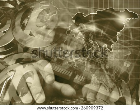 Digits and map - abstract computer background in sepia. - stock photo