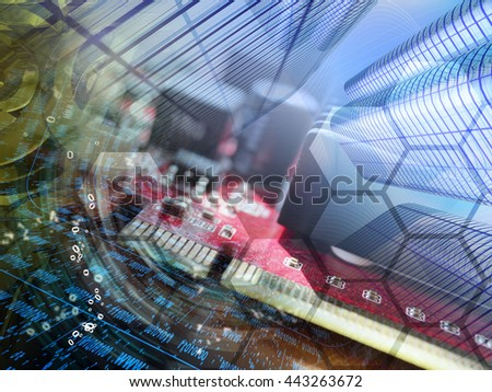 Digits, buildings and map - abstract computer background. - stock photo