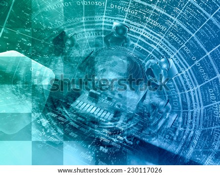 Digits, mans and globe - abstract computer background in greens and blues. - stock photo