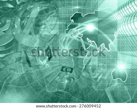 Digits, mans and map - abstract computer background in greens. - stock photo