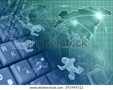 Digits, mans and map - abstract computer background in greens and blues. - stock photo