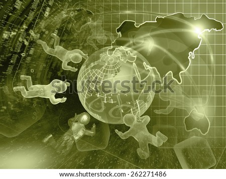 Digits, mans and map - abstract computer background in sepia. - stock photo