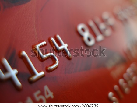 Digits on red credit card