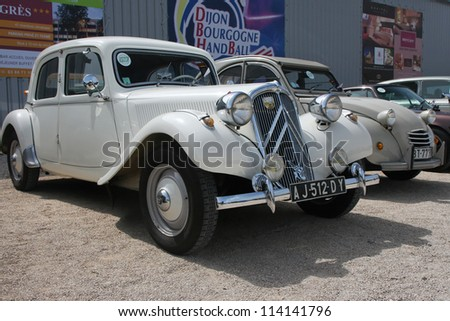 DIJON, FRANCE - JUNE 24:Old Citroen exposed during historic race at the Circuit of Prenois, on June 24, 2012 in Dijon, France. This race celebrates the 40th Anniversary of the Circuit Dijon-Prenois