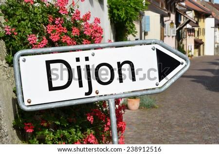 Dijon sign on the street - stock photo