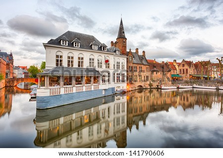 Dijver canal in the evening in Bruges, Belgium