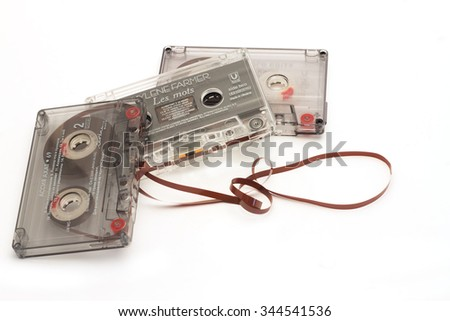DIKANKA, UKRAINE - NOVEMBER 26, 2015: Film tape cassettes used for recording and playback of music.Cassette with an inscription on the manufacturer, the name of the artist  and a list of songs.