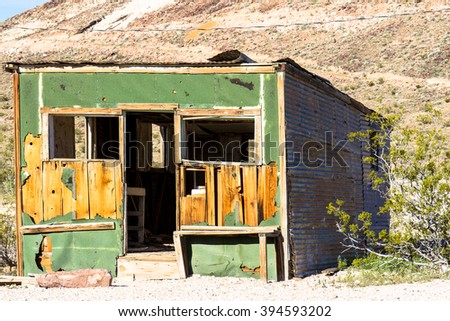 Dilapidated building in Rhyolite Ghost Town, Nevada, BLM owned - stock photo