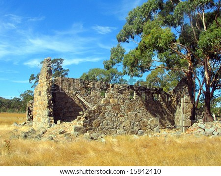Dilapidated stone shack in Australia - stock photo