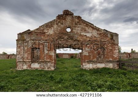 Dilapidated stud farm 19th century - stock photo