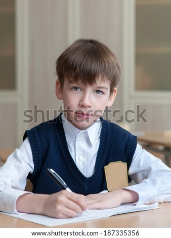 Diligent happy student sitting at desk, classroom, boy in school uniform, education