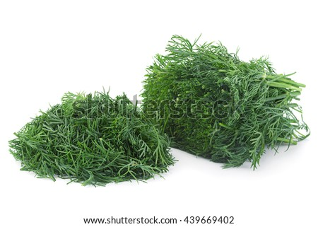 Dill herb chopped closeup isolated on white background